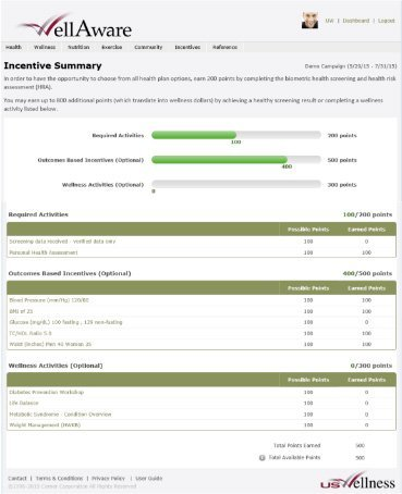 Sample View: Online Incentive Tracking, Employee/User View